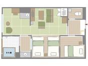 ほど良い広さの中で快適にお過ごしいただけるよう家具や間取りに工夫を凝らし、3台の和ベッドを配した寝室と畳敷きのリビングに加え、広縁まで設えました。
