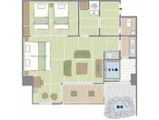 本館最大の70平米あるスイートルーム。4名様でもお入りいただける広さの石積み露天風呂では、天然温泉をお愉しみいただけます。ハリウッドツインタイプの和ベッドを設えた和洋室とツインタイプの和ベッドを設えた寝室からなるゆったりとした客室です。