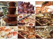 SOCOでのディナーバイキング(イメージ) 約50種類のお料理をご用意いたしております。デザートコーナーにはチョコレートファウンテン。※季節によって料理内容は異なります。