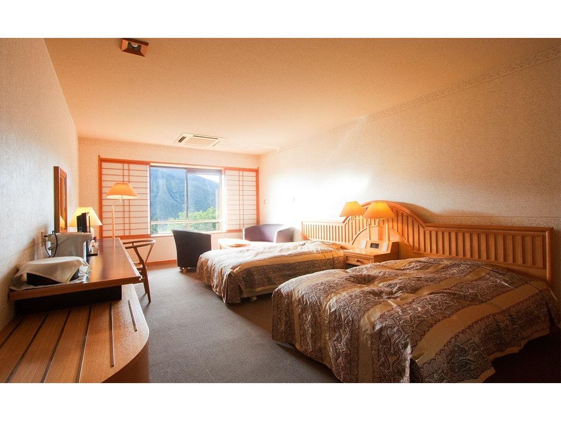 本館で1室のみのツインのお部屋です。上層階5階からの山々の眺めも良好です。