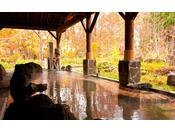 広葉樹の彩り豊かな紅葉の中で露天風呂をお楽しみください。