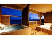 別邸 蒼空の露天風呂では2018年4月に開湯した自家源泉の療養泉「南あわじ温泉」をお愉しみ頂けます