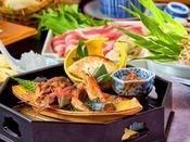 上州牛サーロインステーキをメインに群馬野菜も楽しめる。当館人気お料理。