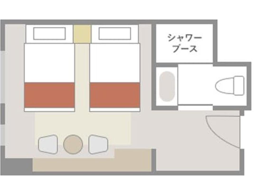【エコノミーツイン:21平米】室内レイアウト(一例)