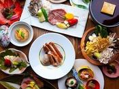 ~上州和牛ステーキと蟹すき会席~ 山の幸の代表キノコや海鮮、群馬野菜を織り交ぜて。