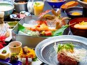 ~ご夕食イメージ~ 実際の提供内容やメイン料理(上州牛や銘柄豚など)は季節や料理により異なります