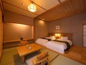 温泉倶楽部ツイン客室一例。お部屋により、内装が異なります。