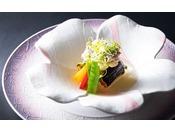 鯛と米茄子の餡かけ