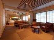 【こもれび】ジェットバス付デラックス和洋室/広々とした空間で、安らぎのひとときをお過ごしください