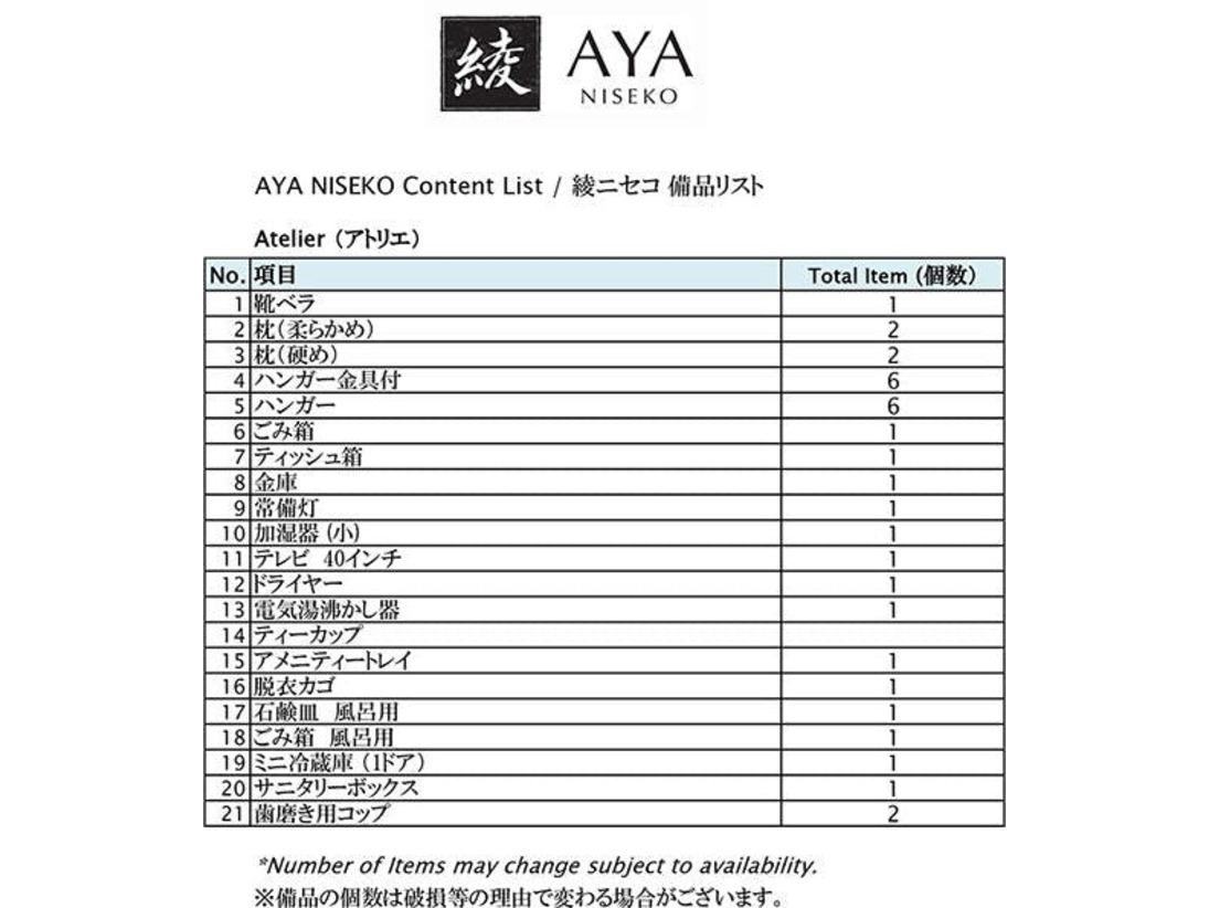 【アトリエ】備品リスト