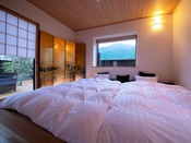 ■榛-hashiba-■ 特別室・露天付き離れ/由布岳を望む離れ特別室。快適さと和の心地よさを併せ持つ。