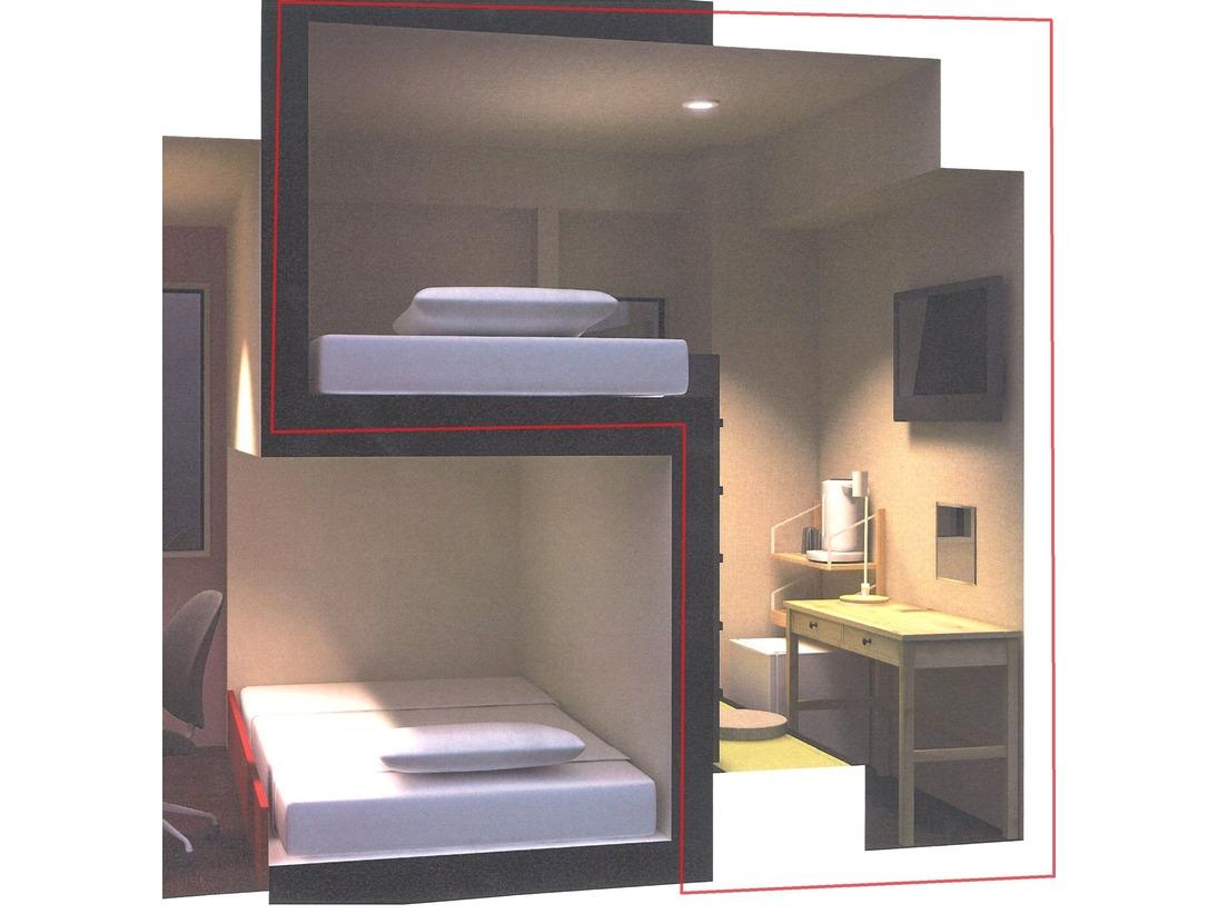 ロフトタイプベッドルームのシングルタイプ(設置ベッドは幅140cmのダブルサイズ)この部屋は2段ベッドの階段を昇り降りの出来ないお客様はご利用出来ません。お気を付け下さいませ。
