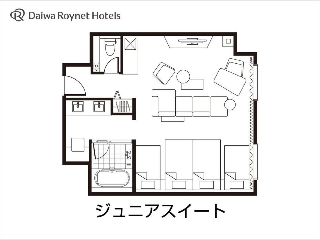 ジュニアスイート(オープンタイプ) 間取り図※4名様ご利用時、ベッド4台設置。