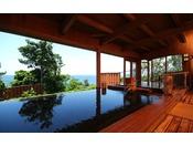 【大湯屋「海つばき」】石風呂や丸太風呂、梅風呂など浴槽が充実しております。 温泉の源泉:文殊の湯・合気の湯