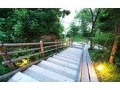 【混浴露天風呂「浜千鳥の湯」利用方法3向かう道中】混浴露天風呂に向かう階段が約80段ございます。自然の音に耳を澄ませながらお進みください。