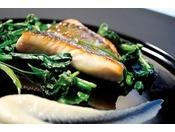 フルコースのお魚料理・黒ソイのポワレ和風仕立て