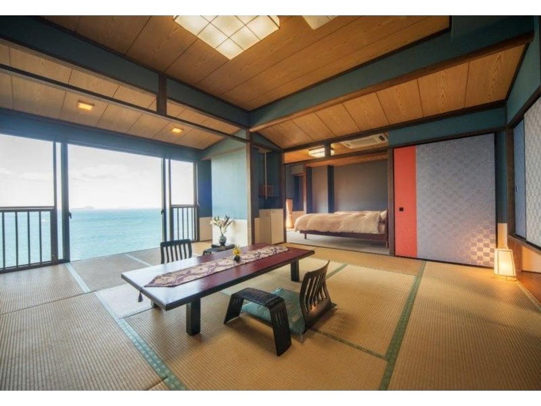 開放空間 風月亭205号室14帖+6帖 ベッド常設のお部屋