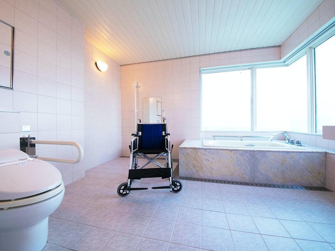 ■ユニバーサルツイン■36平米。車椅子のお客様で安心!眺望も楽しめるお風呂。バスチェアなど貸出備品あり