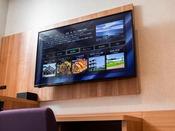 壁付けの大型テレビ