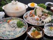 淡路島の冬を代表する高級魚「淡路島3年とらふぐ」を贅沢に利用したイチオシの料理プラン。ひれ酒・てっさ・てっちり鍋・唐揚げとふぐの魅力を多彩にお楽しみいただけます