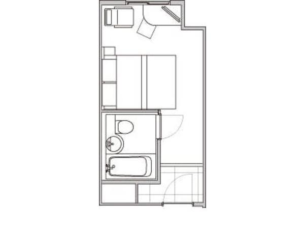 【平面図】ダブルルーム 15.6平米
