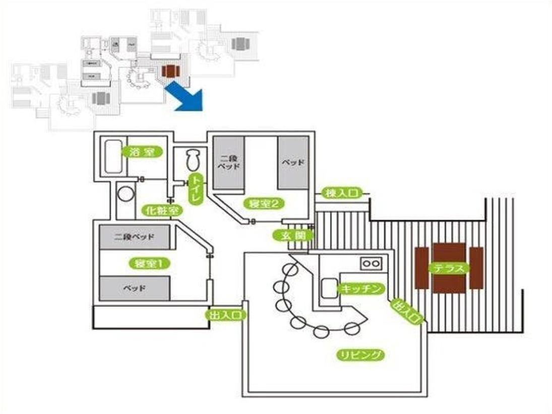 【ケビン棟 連立タイプの間取り】リビングキッチン、2ベッドルーム、浴室、洗面所、トイレ、テラス