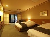 【新館:水花の庄/洋室ツイン35平米】広々とした客室とツインベッドで2人の旅を贅沢に。