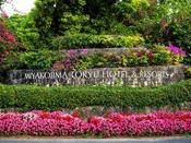 【ホテル入口周辺】緑豊かな木々や色とりどりの花々がお出迎え♪んみゃ~ち!(ようこそ)宮古島東急ホテル&リゾーツへ