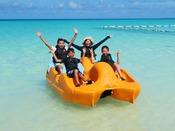 【ペダルボート(2人乗り・4人乗り)】ファミリーやグループにおすすめ!足で漕ぐボートです。力を合わせてペダルを漕ごう!