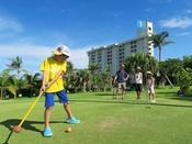 【パークゴルフ(全18ホール)】三世代で楽しめるパークゴルフ。朝夕の日差しの優しい時間帯がおすすめです。