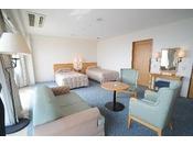 デラックスツインルームでございます。広さは43.5平方メートル。桜島を眺めながら、優雅なひとときをお過ごしください。