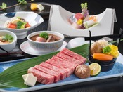 「鳥取和牛のステーキ会席」の献立一例※季節により献立は変更となります。