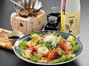 中華風海鮮サラダと純米吟醸 一筆啓上