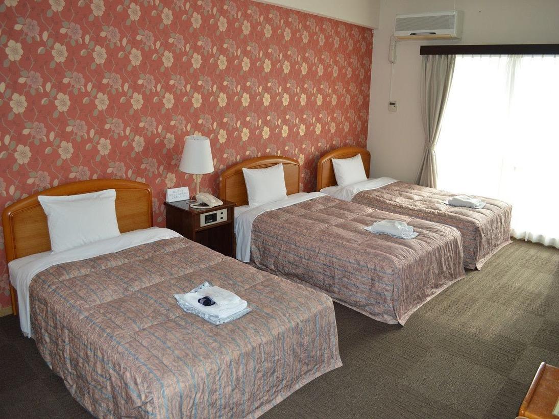 ゆったりとした38平米の洋室です。基本ベッドはセミダブルサイズを3台ご用意致しております4名の場合はソファーベッドを追加させて頂きます。