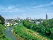 広瀬川と市街地(写真提供:宮城県観光課)