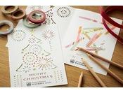 花火とクリスマスツリーをデザインした、オリジナルのクリスマスカードです。マスキングテープや色鉛筆を使って、世界に一つだけのカードを作ることができます。