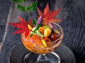 【もりの風茶寮・2020年秋】四季折々の旬の食材を盛り込んだ目にも楽しい会席コースです。