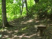 【散策コース】コースの途中にベンチがございます。ひとときここでご休憩を。
