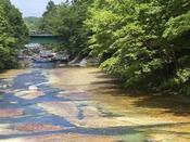 """【夏】ホテル前を流れる""""白絹の床""""。川の名は天女の白絹のような美しさに由来します。"""