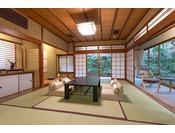 月日亭で一番ゆったりとした離れ家「若葉」の間。洗浄機トイレ付和室10畳+6畳。