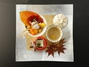 秋の特選会席「星月夜」:胡桃や栗などとれたての山の幸が秋らしい前肴。ゆったりと食の秋をお楽しみくださいませ