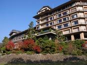紅葉シーズンになると、音信川のほとりは紅葉につつまれます