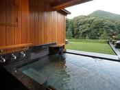 山側・露天風呂付プレミアムスイートB(約66平米):山々の緑を眺めながら、源泉かけ流しの湯に浸かる。心解き放つ時間をごゆっくり…
