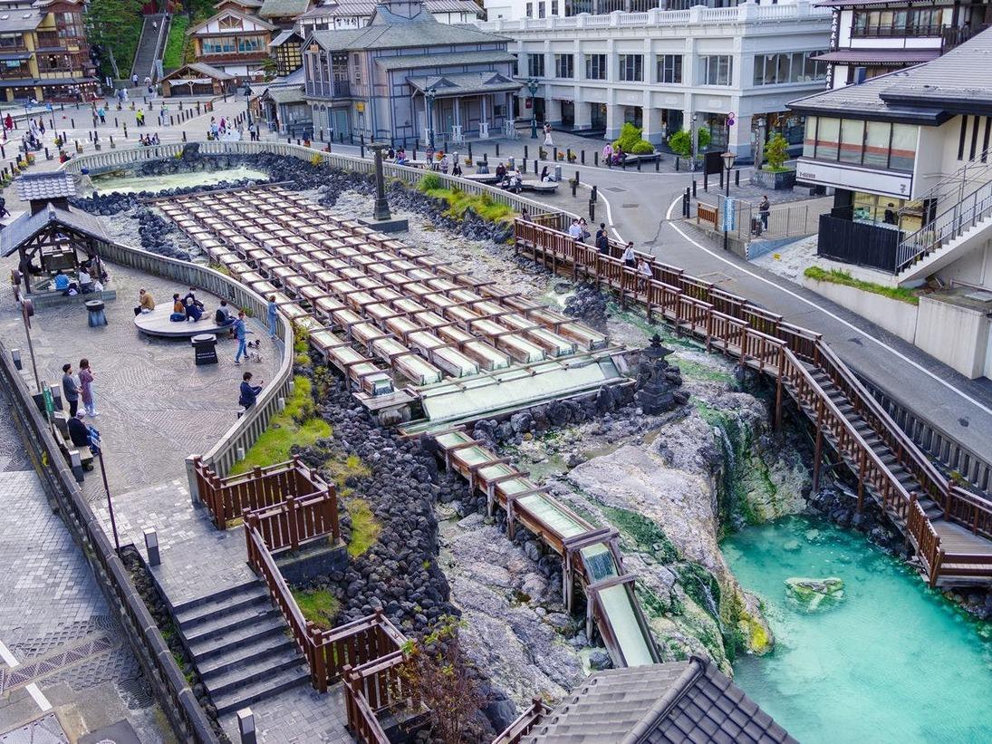 草津温泉のシンボル『湯畑』目の前の好立地