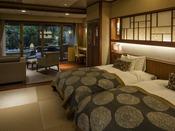 露天風呂付き ガーデン・スイートB(川沿い)約60平米の客室は、空間美を意識した和の設えを基本に、洋室の快適さを融合