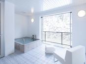 スタンダードスイート ラージダブル205号室。半露天風呂+シャワーブース60平米※源泉100%掛け流しの温泉お二人ゆったりの広めの浴槽