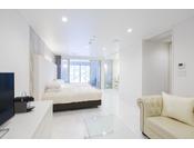 スタンダードスイート ラージツイン102号室。60平米半露天風呂+シャワーブースお二人ゆったりの広い半露天風呂と2ボールの広い洗面