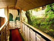 客室へと続く渡り廊下からは苔庭と原生林が望める