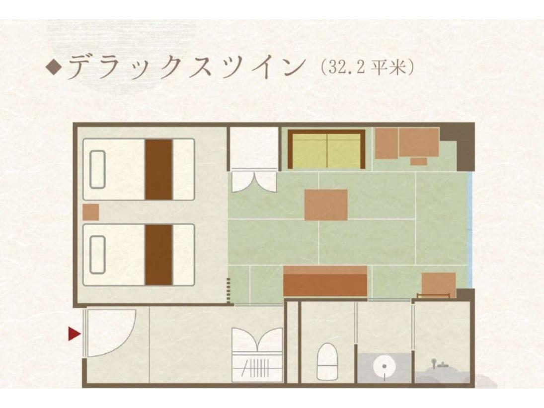 【客室】デラックスツインベッド幅110センチ2台