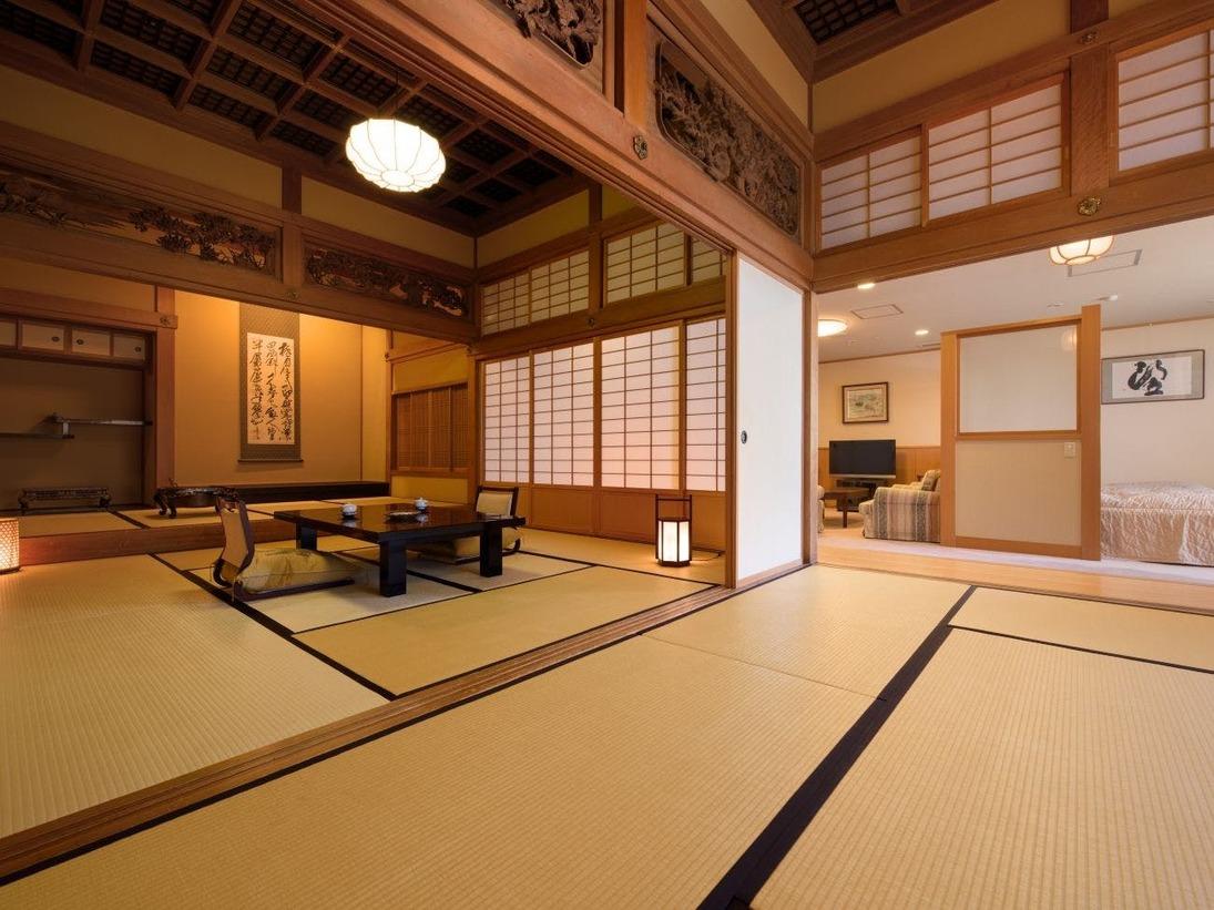 由緒ある旧家より移築した梁、欄間がみごとな「特別室」 和室は2間